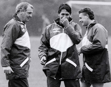 Sir Bobby Robson quotes being shared amongst the chuckling Gazza and Lineker.