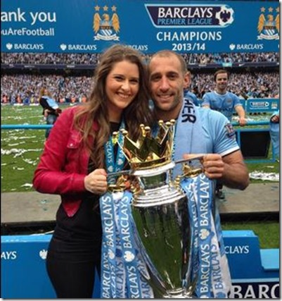 Pablo Zabaleta with wife Christel Castaño.