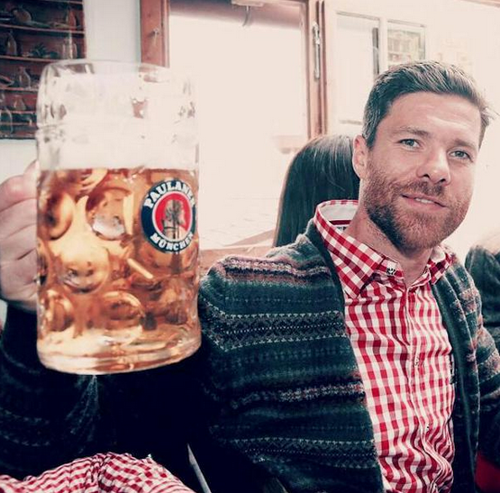Xabi Alonso raises a beer to another year of success in his finely ageing years.