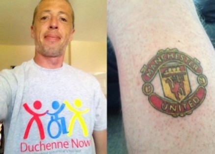Man City fan Mike shows off his Manchester United tattoo to raise money for his son.