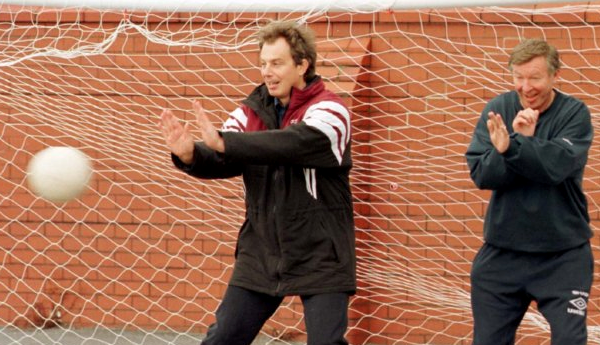 Famous Newcastle United Fan, Tony Blair takes on Sir Alex Ferguson during the Scotsman's prime.